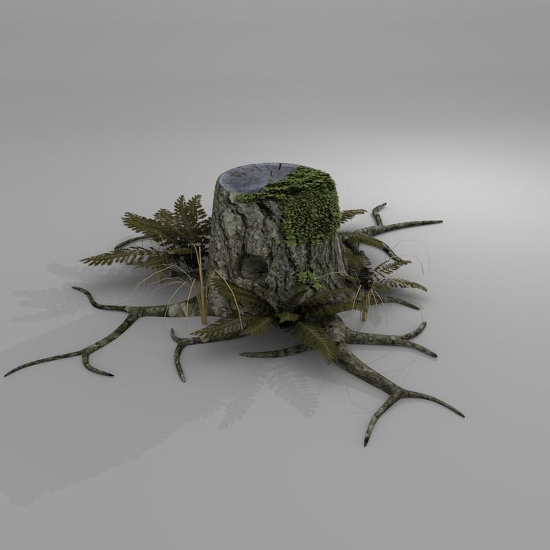 3d tree bark model
