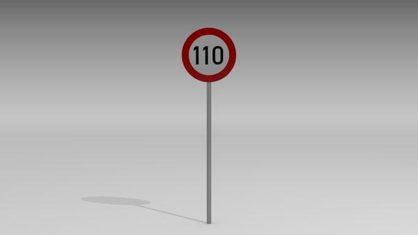 110 speed limit sign 3d model
