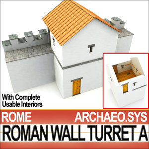3d model ancient roman wall turret