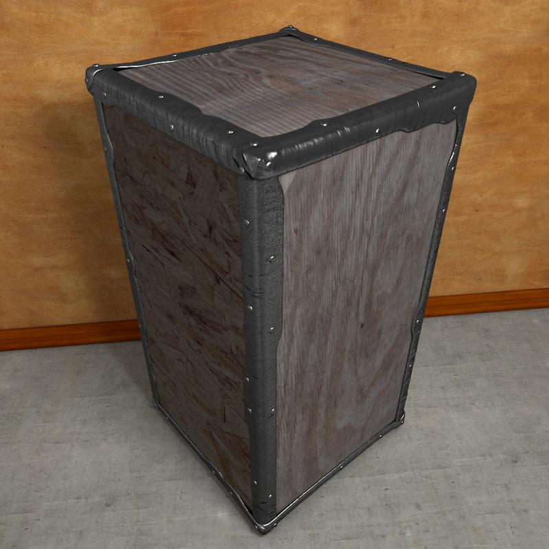 wooden crate tea edges 3d model