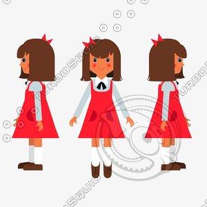 3d 2d girl character model