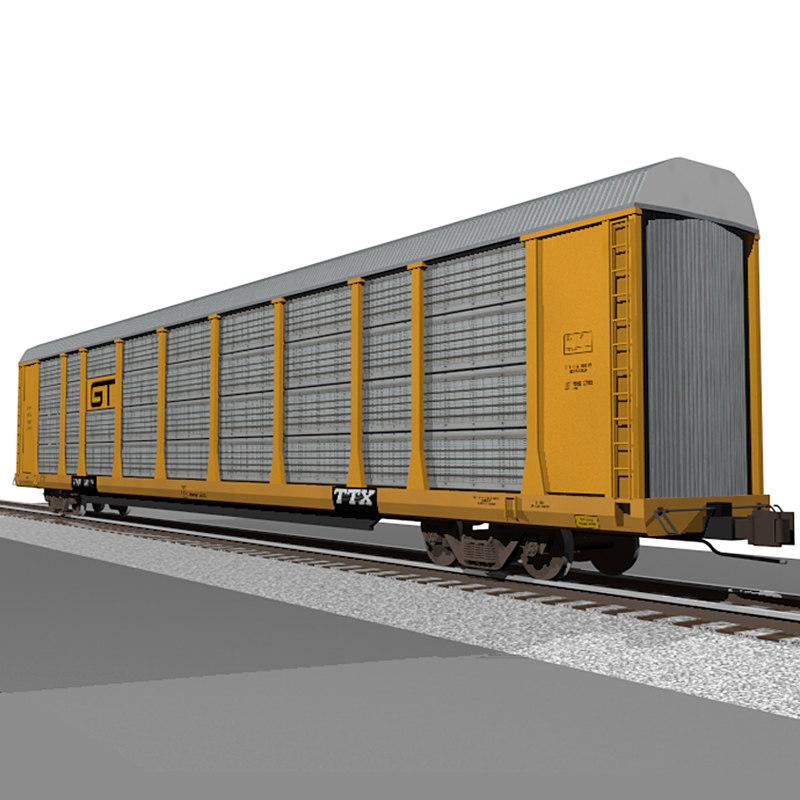 3d c4d train car autorack