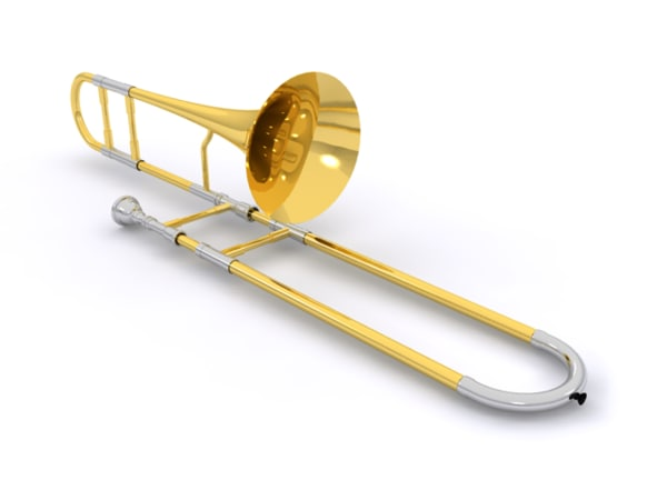 brass trombone 3d max