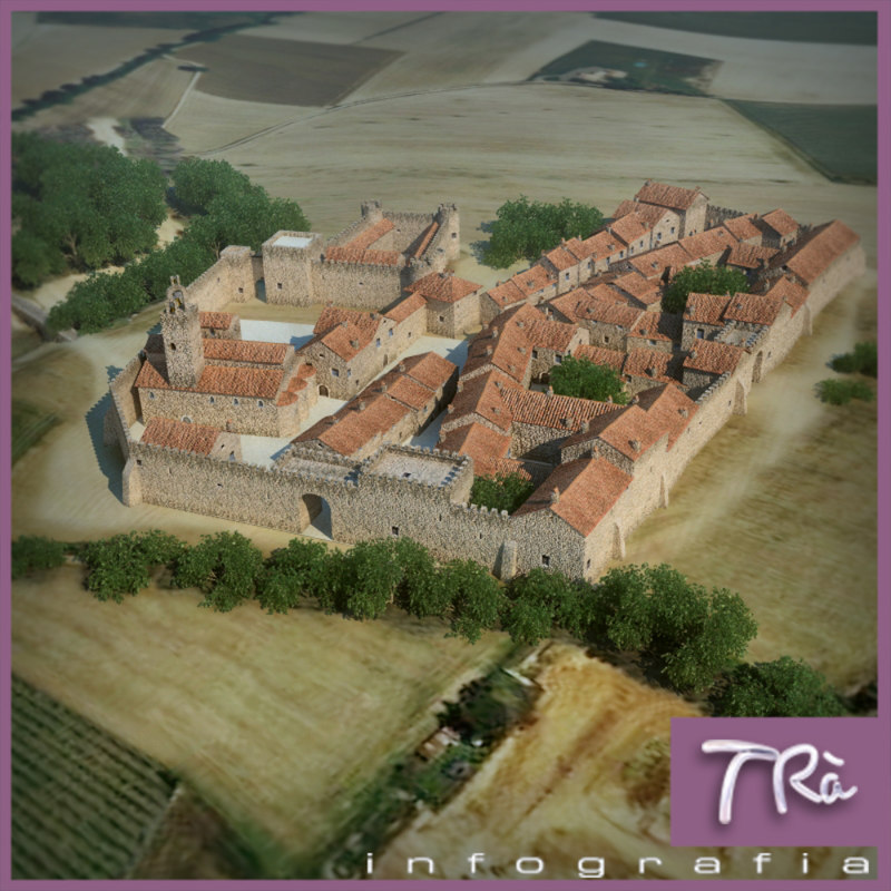 walled medieval town 3d max