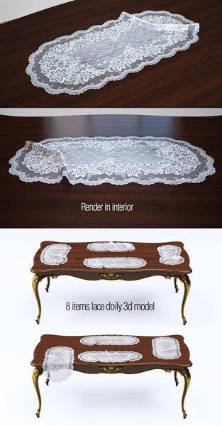 3d model set lace doily 8