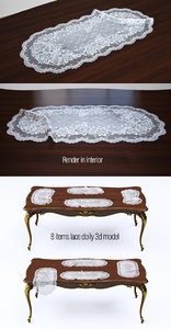 3d model set lace doily 8