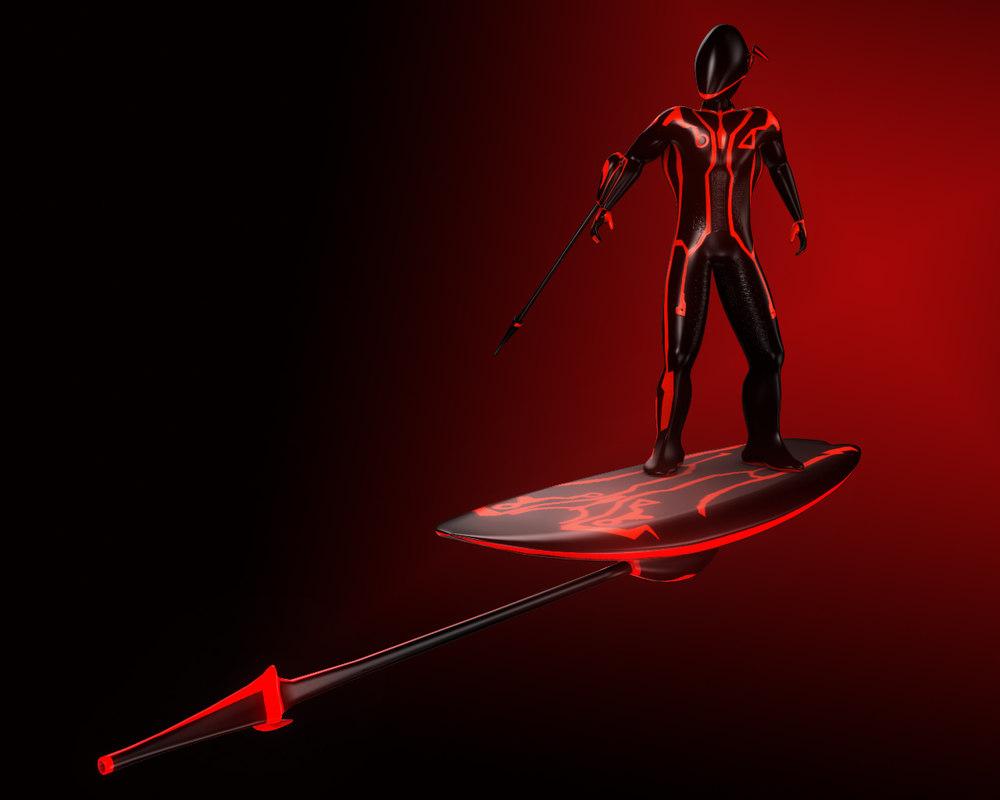 character digital surfer 3d model