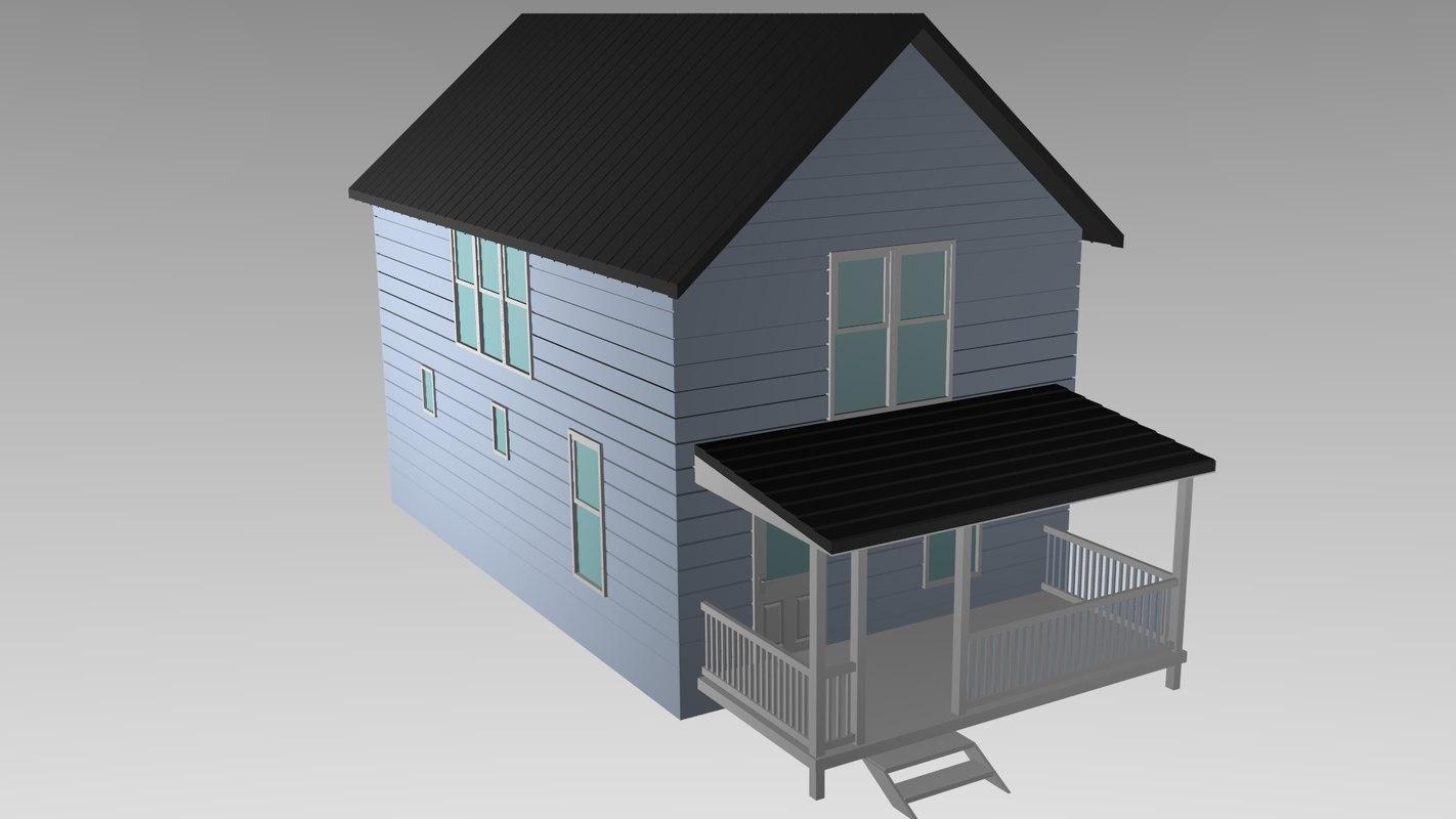 3d obj simple house