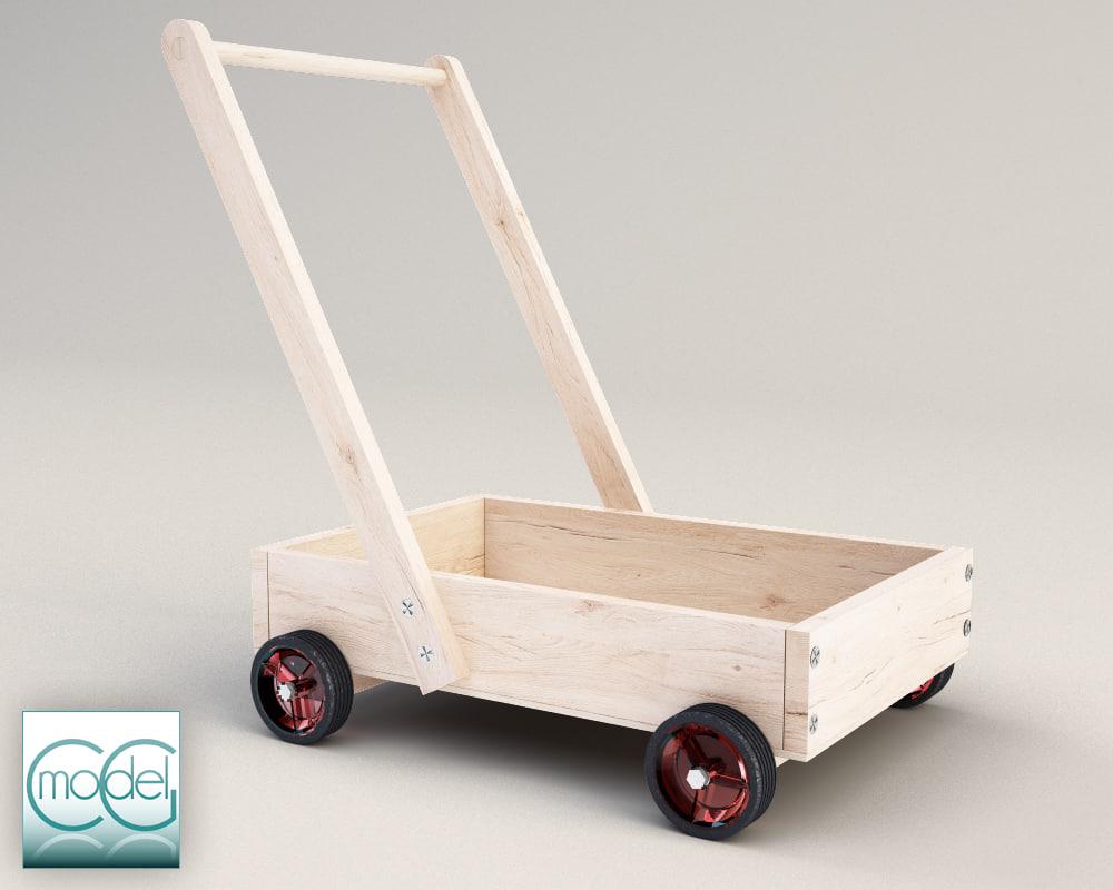 3d model wood cart