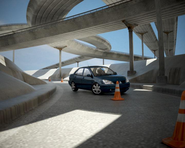 road mitsubishi lancer 1 3d model