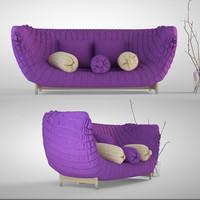 purple sofa 3d obj
