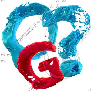 3d model splashy letters