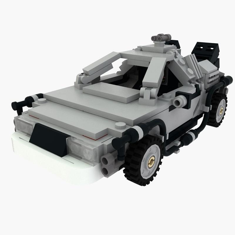 lego future delorean 3d max