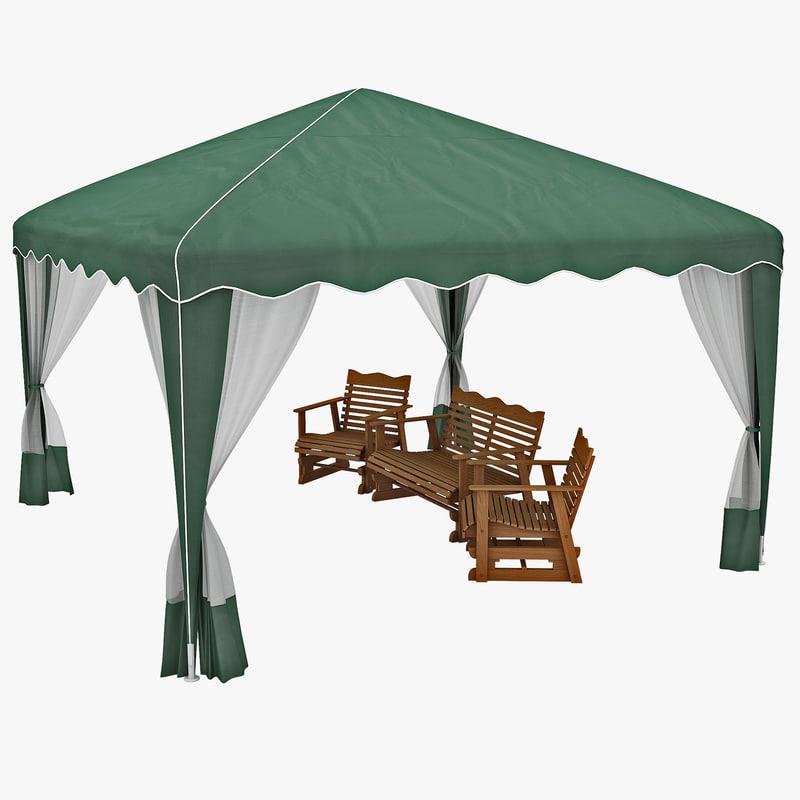3d model garden party canopy