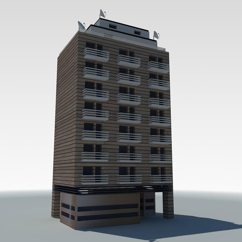 low-poly condo building 3d max