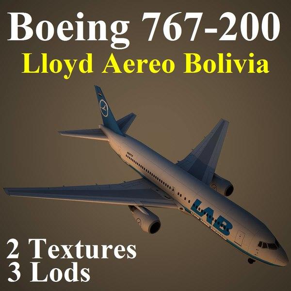 3d model boeing 767-200 llb