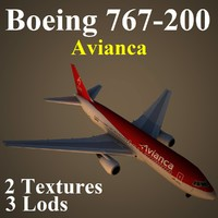 boeing 767-200 ava 3d max