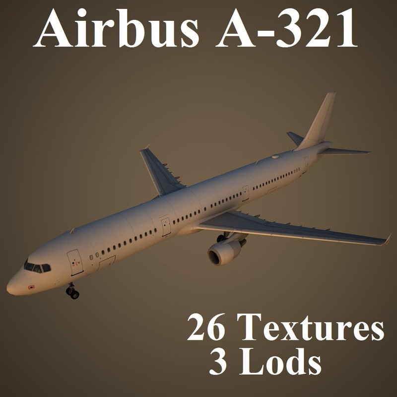 airbus a-321 airlines 3d model