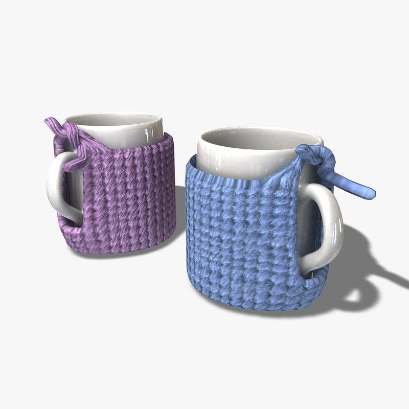 3d obj knitted cup holder