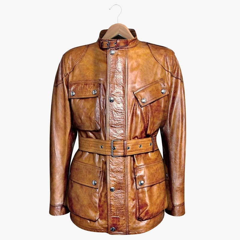 3d brown leather jacket