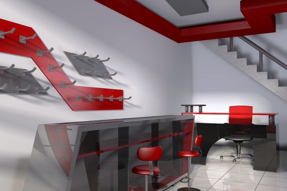 c4d interior modern shop