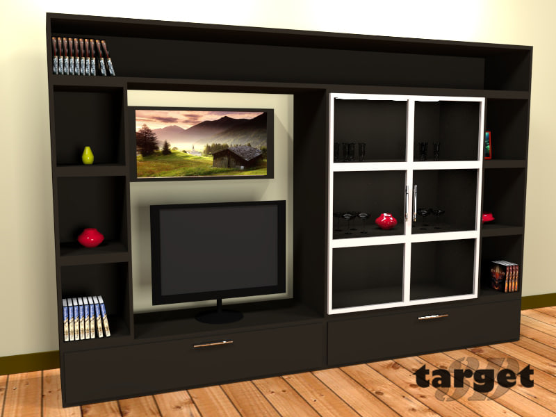 3d model shelf tv vase