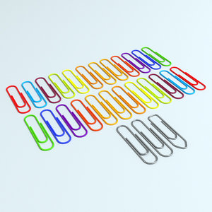 3d model colored paper clips