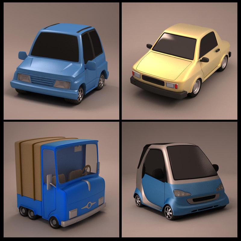 3ds max cartoon cars
