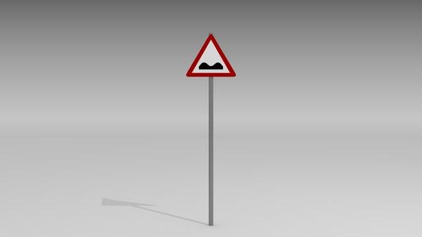 speed bumps sign 3d model