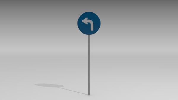 maya turn left sign