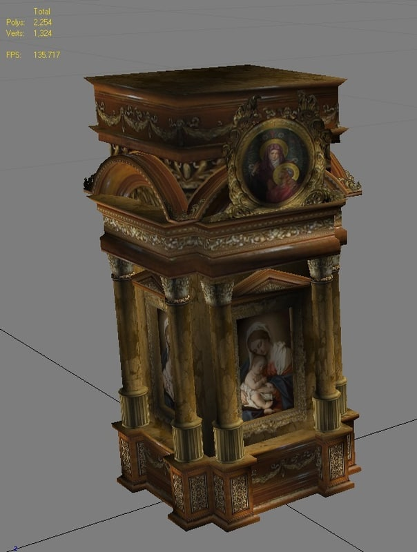 3d model classical romanic church altar