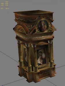 3d model classical romanic church altar