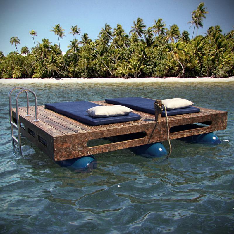 luxury water sunbed 3d model