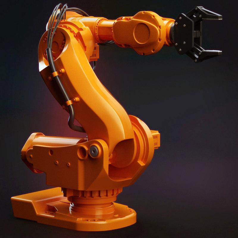 2 industrial robots set 3d 3ds
