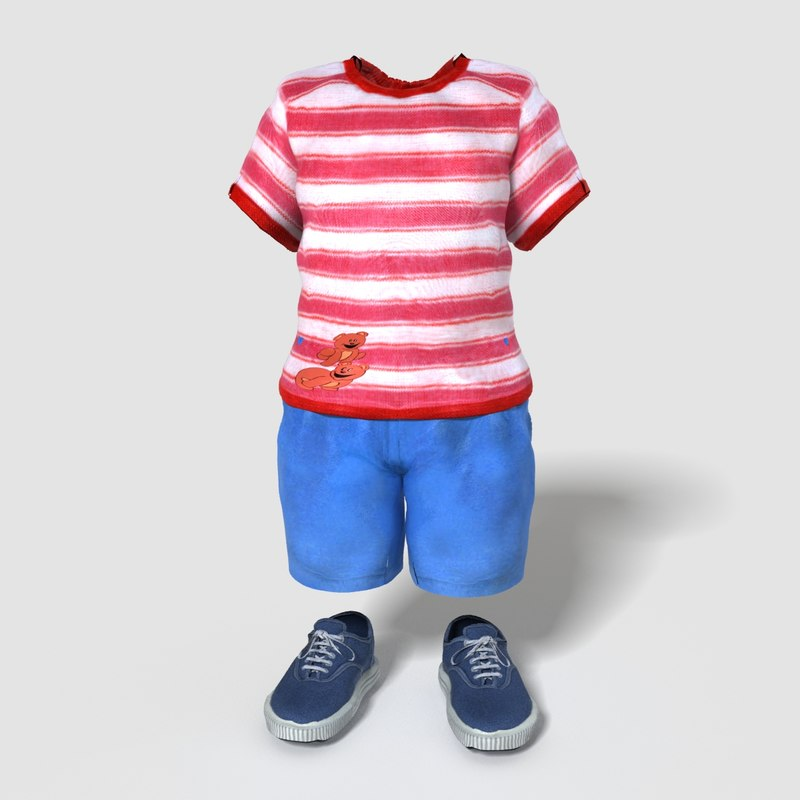 3d realistic child boy outfit model