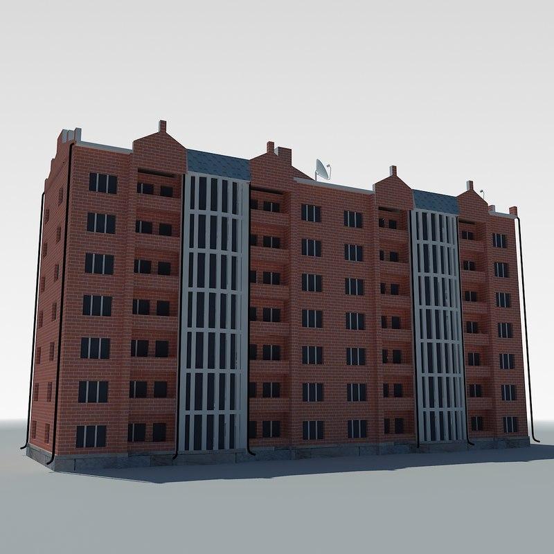 3d low-poly condo building model
