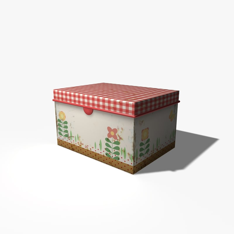 3d model old tin box
