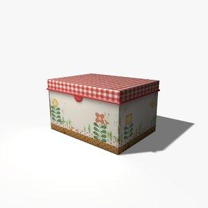 3d model old tin box