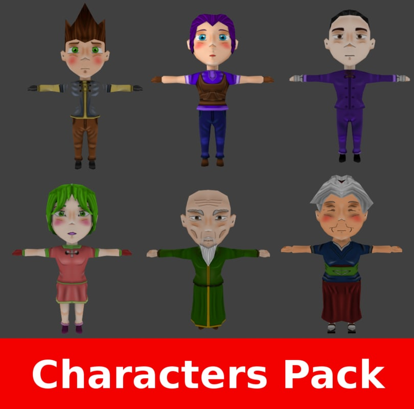 rpg characters pack 3d obj