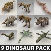 9 Lowpoly Dinosaur Rigged Models Pack