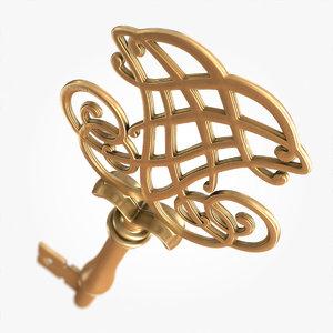 gold old key 3d model