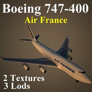 3d boeing 747-400 afr model