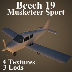 beech 19 3d model