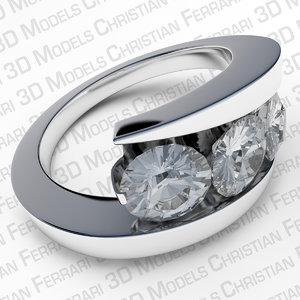 3ds white gold ring diamonds