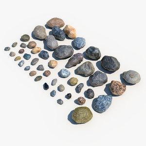 stones rocks 3d max
