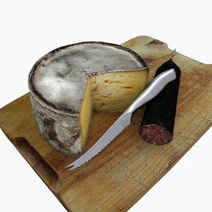 3d obj kitchen cheese sausage