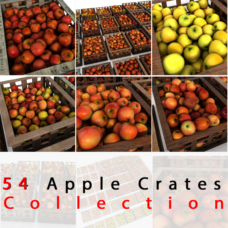crates apples 3d model
