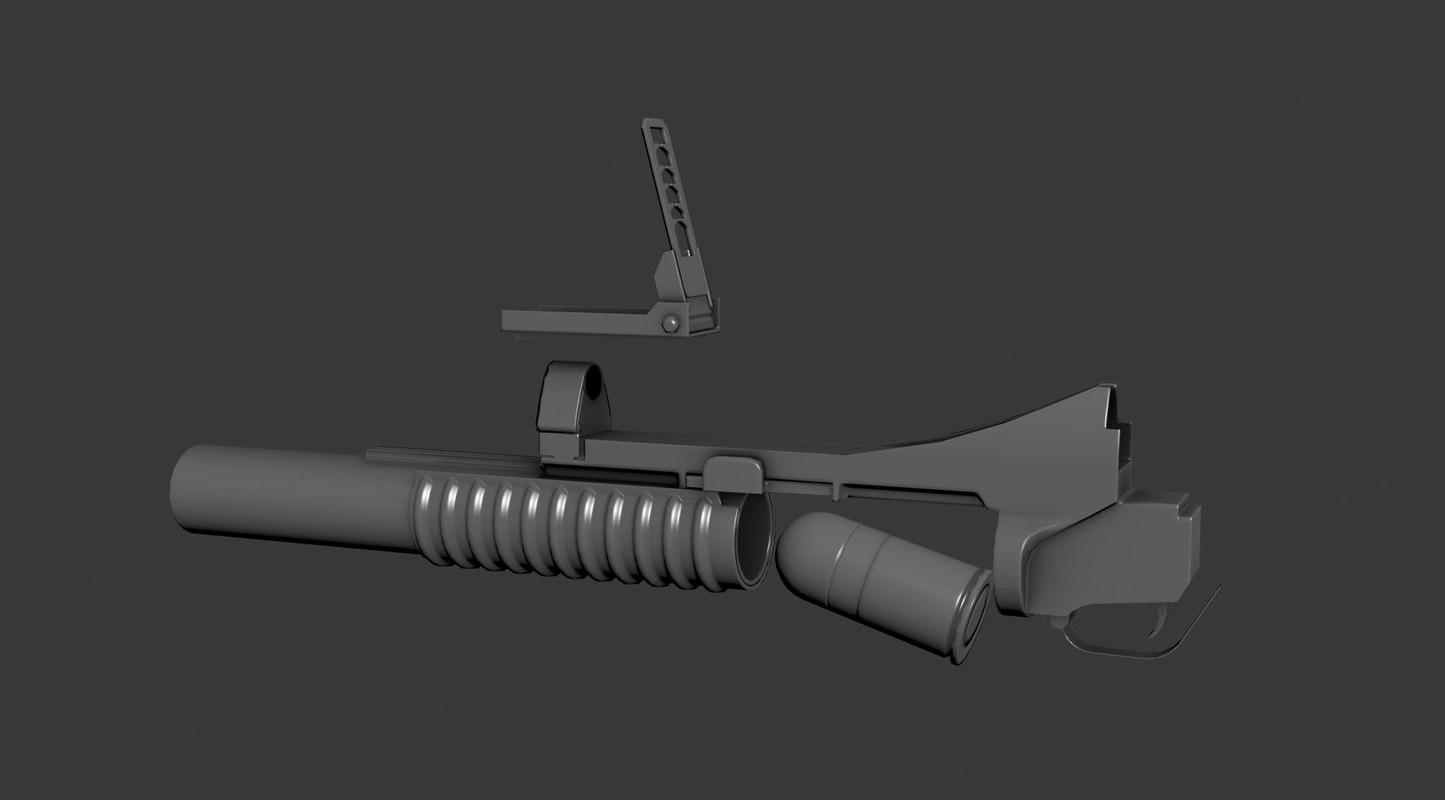 3d m203 grenade launcher model