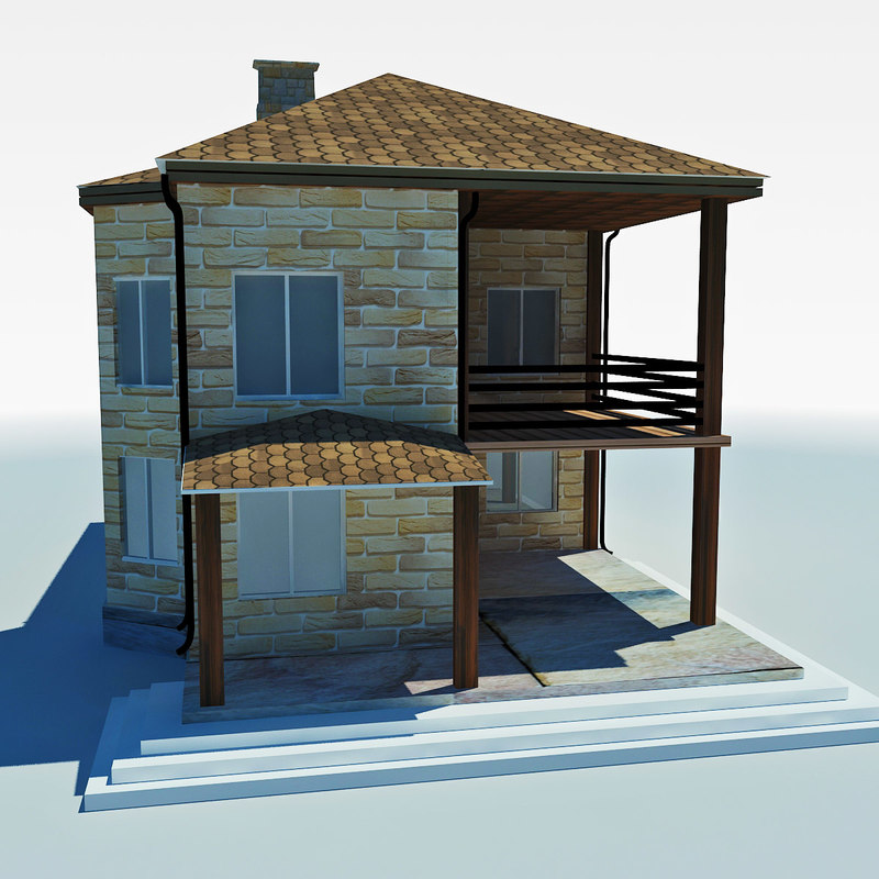 low-poly cottage 3ds