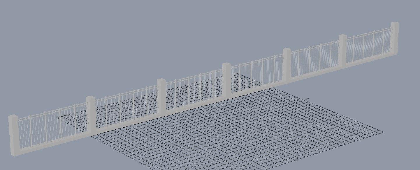 fence brick 3d lwo